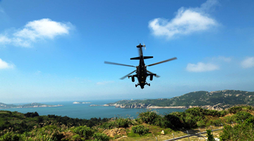 WZ-10 attack helicopters fly over island