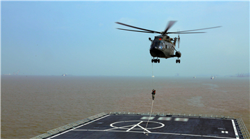 Helicopters fly alongside dock landing ship in training