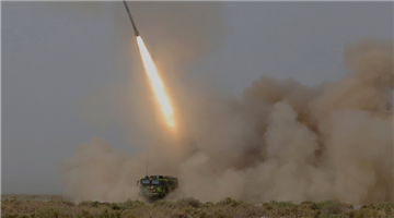 Multiple launch rocket systems fire at aerial targets