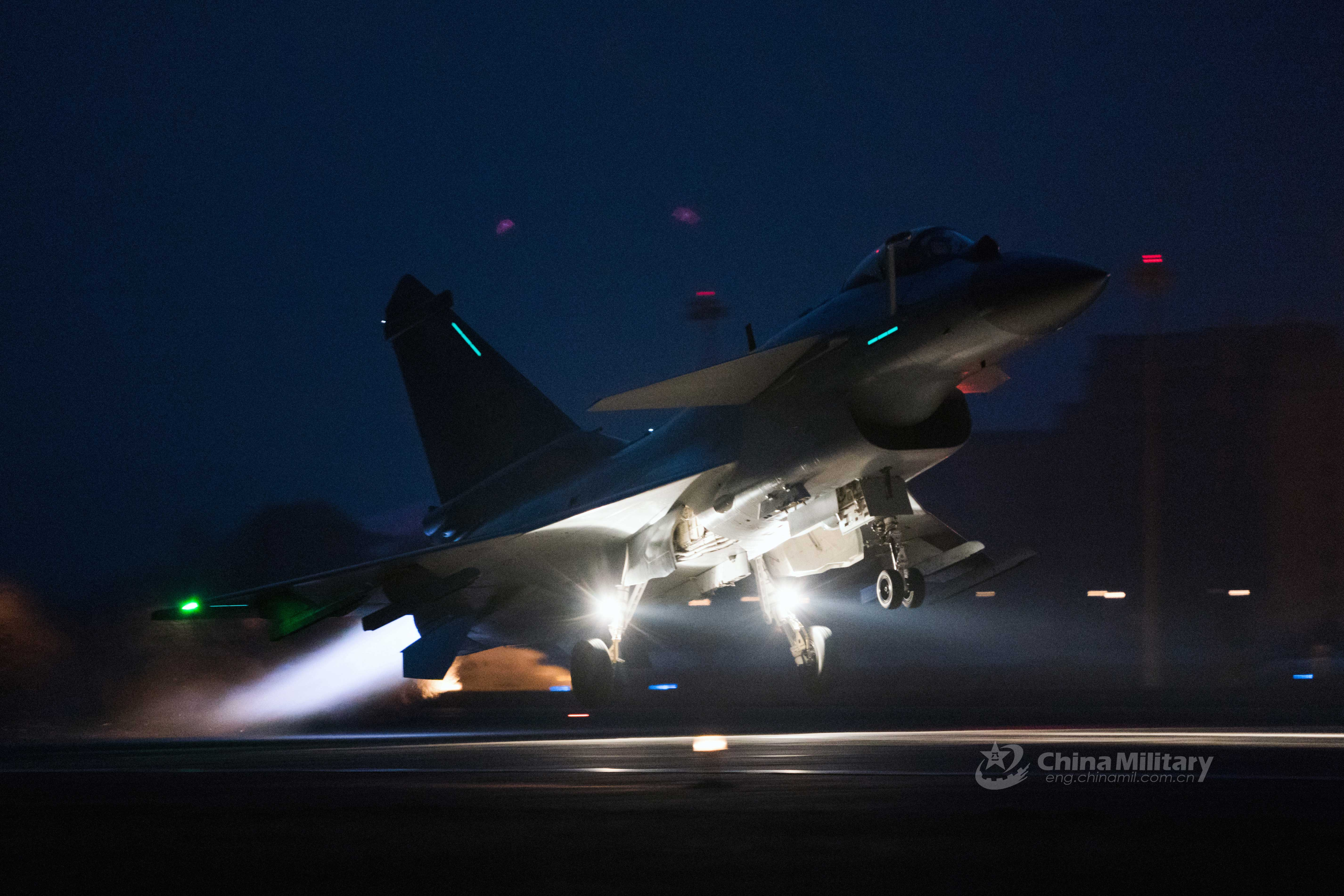 J-10 fighter jet takes off at night - China Military