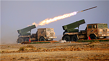 Rocket launcher system fires at mock targets