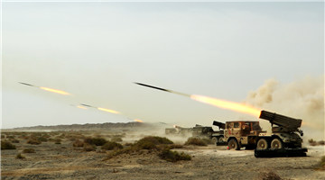 122mm rocket launcher systems fire in Gobi Desert