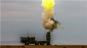 HQ-16 air-defense missile system fires at targets in desert