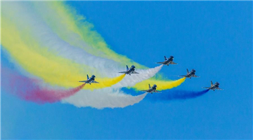 Chinese PLA Air Force's August 1st aerobatics team performs at Army 2018 Int'l Military and Technical Forum