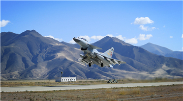J-10 fighter jet takes off for patrol mission