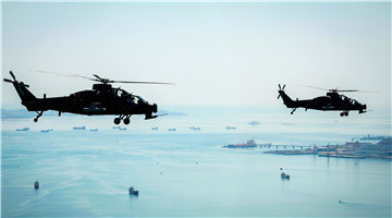 WZ-10 attack helicopters fly over sea area