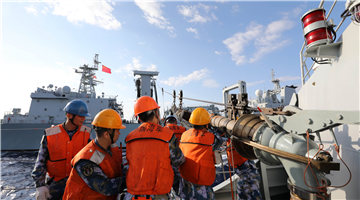 Supply ship Honghu conducts replenishment-at-sea