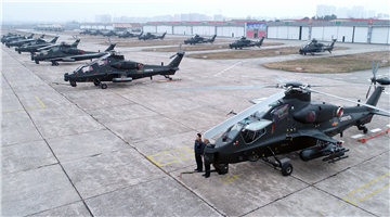 WZ-10 attack helicopters sit in front of aircraft hangars