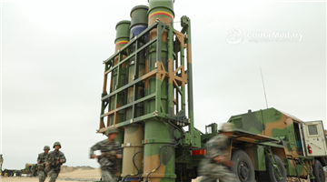 Medium-range air-defense missiles launched in live-fire tactical training