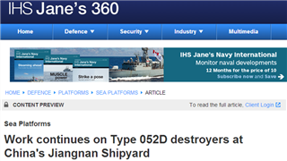 Jane's Defense Weekly: China is building five Type 052D destroyers