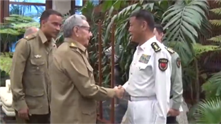 Cuban leader Raul Castro meets with PLA Admiral Miao Hua